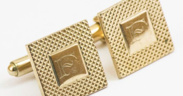 Vintage Cufflinks Letter F Cuff Links Gold Tone by CuffsandClips, $19.20