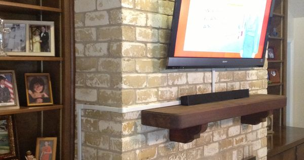 Tv Wall Mounting Over A Brick Fireplace By Ernesto Vesta Fireplace Tv Installation Pinterest