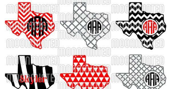 Texas svg cut files monogram frames for vinyl cutters