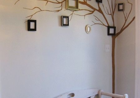 Painted tree mural with picture frames, family tree!
