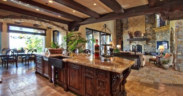 Love the open design, kitchen, family room, dining room all together...and especially