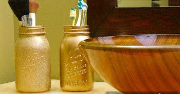 Spray painted mason jars as bathroom storage | Mason Jar ...