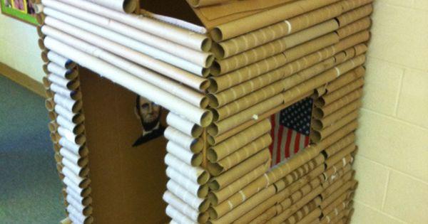 Cardboard Box And Paper Towel Gift Wrap Tube Log Cabin