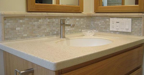 Corian Counter With Integral Corian Sink Glass Tile