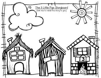 3 Little Pigs Coloring Page Three Little Pigs Houses Coloring