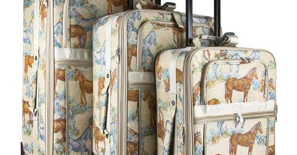 Horse Tapestry 3 Piece Rolling Travel Luggage Set | Tote ...