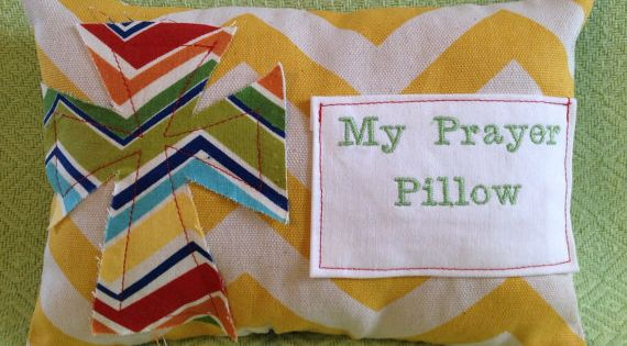 Prayer pillow with fraying cross prayer pocket by for Cross in my pocket craft