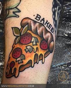 New School Food Tattoo : school, tattoo, Baked-Traditional-Pizza-Piece-Tattoo-Design-For-Leg.jpg, (244×303), Pizza, Tattoo,, Pieces, Baking, Tattoo