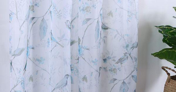 Holking Sheer Window Curtains Drapes Panelsblue Birds Printed