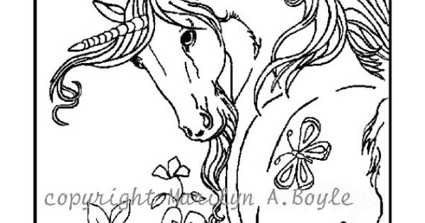SET of FOUR different UNICORNS - Posters or coloring pages ...
