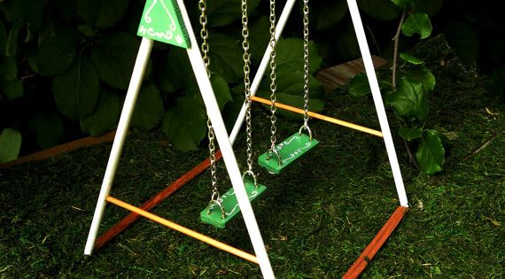 Miniature swing dollhouse swing set miniature for Mini swing set