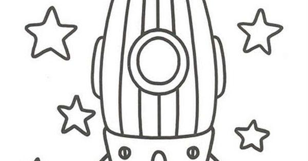 Dibujo Para Colorear Cohete Estrellas