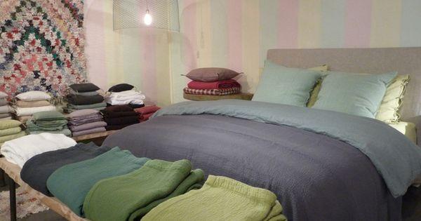 Linge de lit parure de lit en lin lav caravane for Caravane linge de maison en ligne