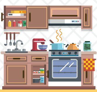 Vector Gratis De Cocina En Funcionamiento En 2020 Maquetas De
