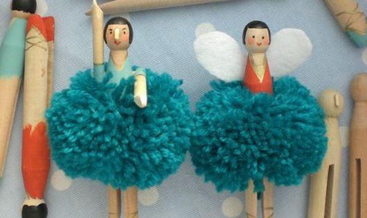 christmas tree pom pom fairies. Adorable! Clothespin Dolls Fairy