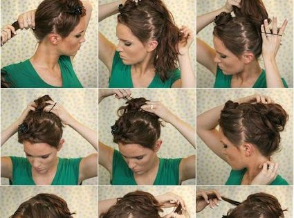 Love her makeup, natural look. Super Easy Knotted Bun Updo and Simple Bun Hairstyle Tutorials - Even though I'm still confused as to how she did this! I love the look