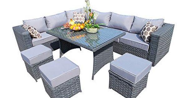 Yakoe 50005 Papaver 1 5 144 X 84 X 68 Cm 9 Seater Papaver Range Rattan Garden Furniture Corner Rattan Garden Furniture Patio Furniture Pillows Garden Furniture