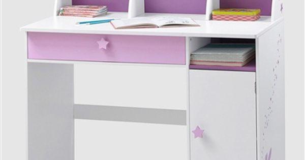 Grand bureau fille blanc th me f e blanc violet vertbaudet enfant le coin - Bureau fille vertbaudet ...