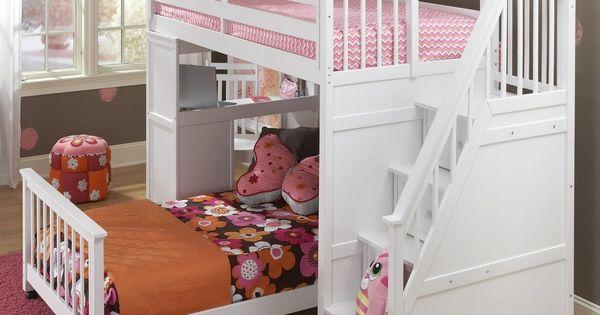 Schoolhouse Stairway Loft Bed White My Kids