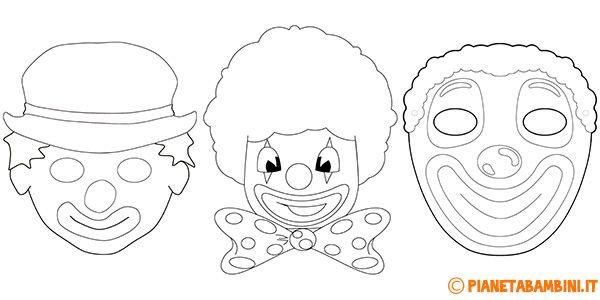 Maschere da pagliacci da stampare e colorare carnevale for Giullare da colorare