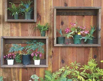 Picture frames on a fence. Great garden idea for any potted plants!