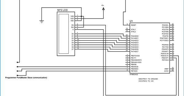 atmega32 lcd interfacing circuit diagram