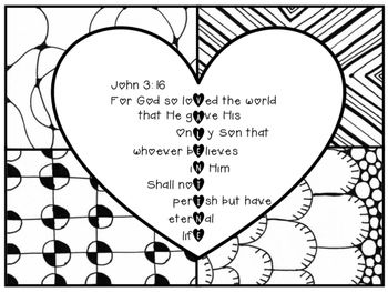 John 3 16 Valentine Coloring Page Zentangle Printable Valentine