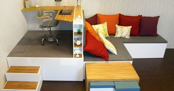 Estrade pour un bureau avec lit escamotable home sweet home pinterest lit escamotable for Lit escamotable estrade