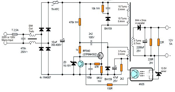 12v 5 Amp Transformerless Battery Charger Circuit Smps