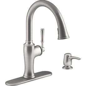 Shop Kohler Cardale Vibrant Stainless 1 Handle Pull Down Kitchen Faucet At Lowes Com Traditional Kitchen Faucets Kitchen Faucet Kohler
