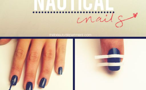 "NAUTICAL NAILS 1.Paint the base navy blue. We used American Apparel's ""Passport"