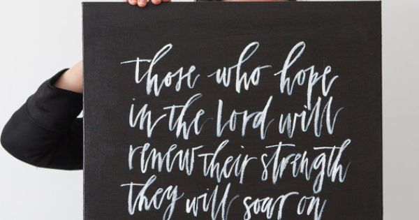 Isaiah 40:31 // Custom Canvas Hand Painted Calligraphy Quote by WrittenWordDesign on