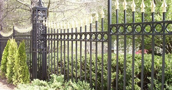 Gold Painted Finials On Ornate Metal Fence Types Of Fences Metal Fence Fence