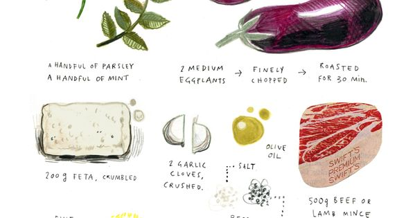 illustrated recipes: feta and eggplant meatballs Art Print by felicita sala -
