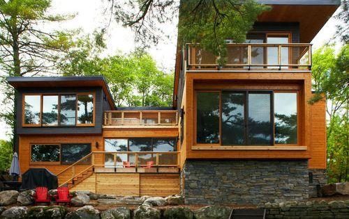 Maison bois et pierre contemporaine – Mary Lake Residence par ...