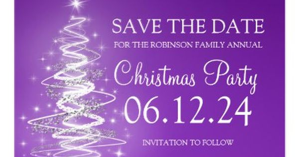 Christmas Party Save The Date Sparkling Purple Postcard Xmas Christmaseve Christmas Eve Christmas Work Christmas Party Save The Date Work Holiday Party