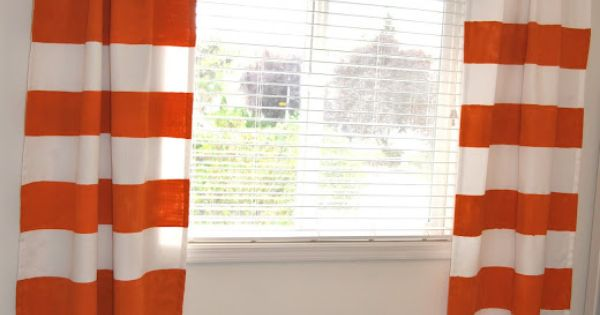 Diy Painted Striped Orange And White Curtains Yes I Am Redoing My Living And Yes I Am Doing
