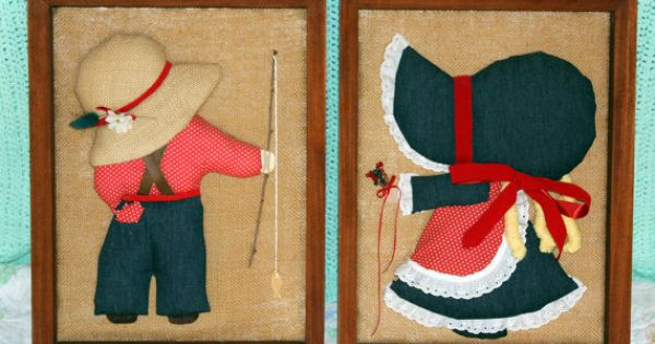 Folk Art Quilt Ideas : Sunbonnet Sue & Overall Sam Vintage Framed Folk Art quilt ideas Pinterest Sunbonnet sue ...