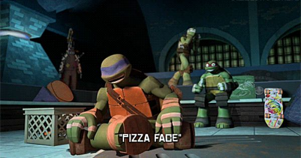 leo and raph are just cracking up while poor donnie in the background is continuously calling