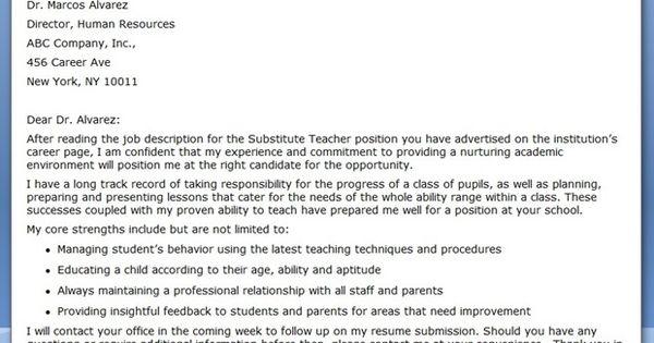 substitute teacher cover letter examples creative resume