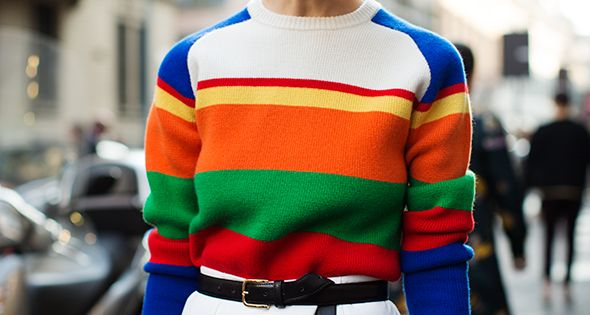 rainbow pullover + highwaisted white shorts via The Sartorialist
