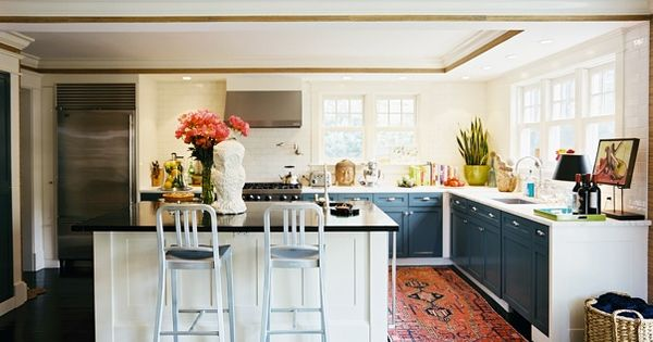 First of all, i LOVE an oriental rug in a kitchen. Second,