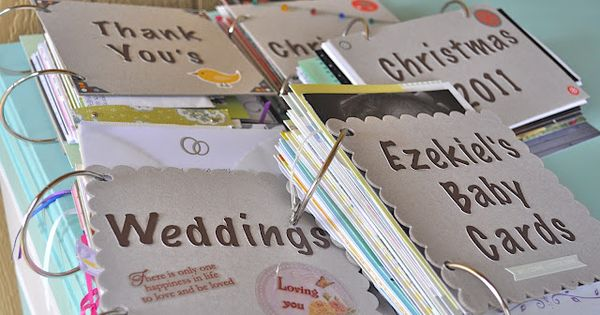 Organize sentimental keeper cards into books --love it! my cards will FINALLY
