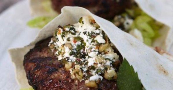 ... with Feta Pesto | SAVORY | Pinterest | Lamb Burgers, Lamb and Feta