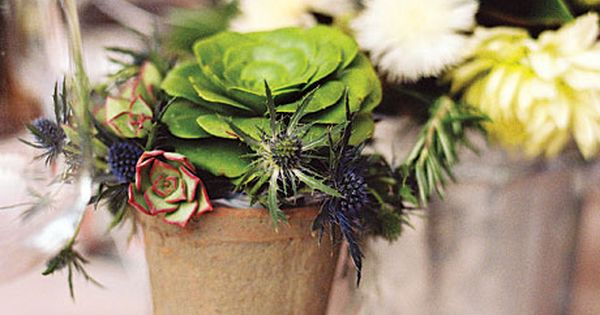Brides.com: . Dahlia, Artichoke Blossom, and Herb Centerpieces for a Beach Destination