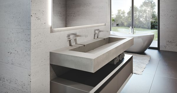 trueform concrete 60 ada floating concrete sink in a