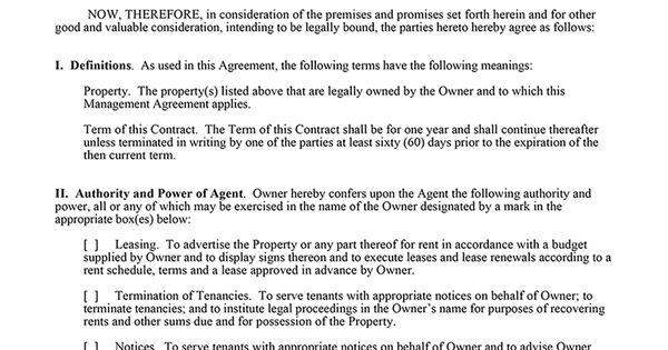 Property Management Agreement (for Landlords) EZ Landlord Forms - management agreement