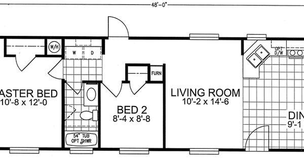 16 x 48 2 bed 1 bath 744 sq ft floorplan 16x40 for 16x40 floor plans