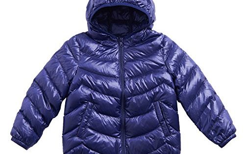 IKALI Kids Winter Jacket Boys Girls Puffer Hooded Coats Lightweight Outwear