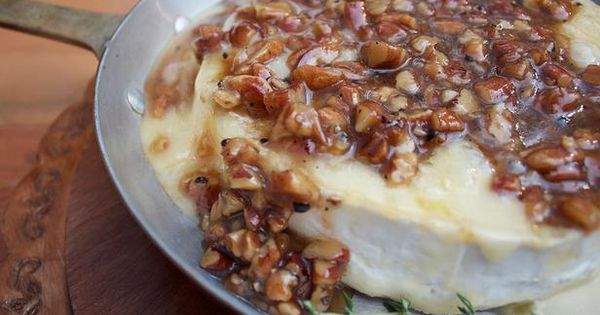 "Maple Pecan Baked Brie. ~ Blogger: ""The pecan praline sauce that crowns"